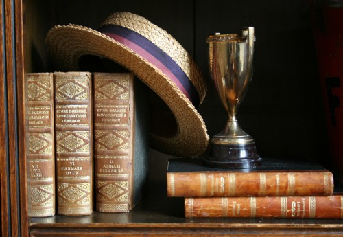 straw hat with books